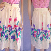 70s Skirt / 80s Skirt / Vintage Skirt / 70s Hawaiian Dress / 70s Floral Skirt / Cali Lilies / Boho Skirt / Hippie Skirt