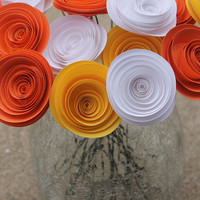 Orange Yellow & White Paper Flowers - Wedding Decor - Fall Decor - Bouquet - Halloween - Centerpiece - Home Decor - Party