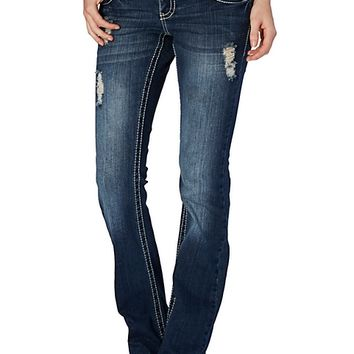 Pyramid Embroidered Slim Boot Cut Jean in Curvy