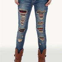 Destroyed Plaid Patch Skinny Jean