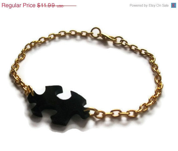 Jigsaw Bracelet, Black Laser Cut Acrylic, Gold Dainty Chain