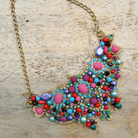 Statement necklace - gold lace with mint, teal, pink, magenta, purple and red beading, rhinestones, swarovski crystals