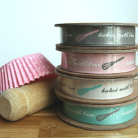 'Baked With Love' Ribbon Reel. 4m