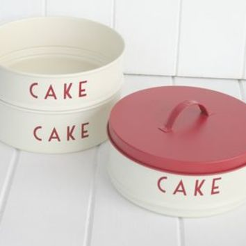 Three Tier Red And Cream Cake Tins