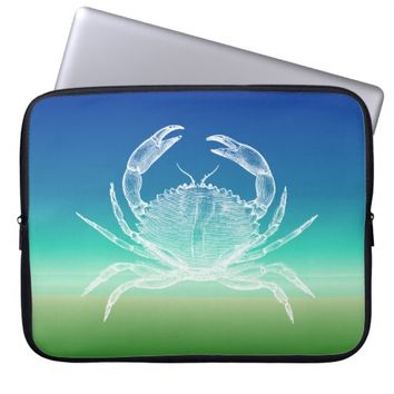 Crab Blue Green Seascape Laptop Sleeve