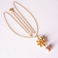 gold pearl necklace, lotus flower and pearl necklace, gold plated dainty necklace