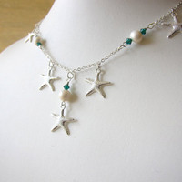 Starfish Neckace with fresh water pearls &amp; teal swarovski crystals - Bridal Necklace for beach Wedding - FREE SHIPPING