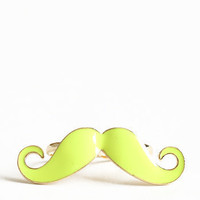Sorry I Mustache Two-Finger Ring in Neon Yellow - $14.00 : ThreadSence.com, Your Spot For Indie Clothing &amp; Indie Urban Culture