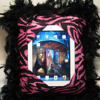 iPad Stand Lap Pillow Hands Free Holder Reader Pink Zebra Feather Trim