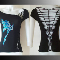 "Womens/Junior Custom Cut Shirt Black Top ""Blue Tribal Rose Tattoo"" Tattoo Inspired Womans Size Small, Medium, Large, XL, 2XL, 3XL"