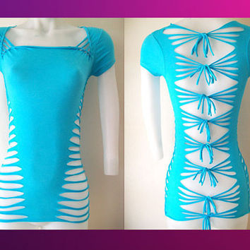 "Junior / Womens Turquoise Cut Shirt "" Sexy Cuts"" Blank T, Size Small, Medium, Large, XL, 2XL, 3XL Shredded T"
