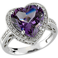 Fine Jewelry - 5.25 CTW Diamond &amp; Amethyst Heart Shaped Engagement Ring in Solid 14K White Gold