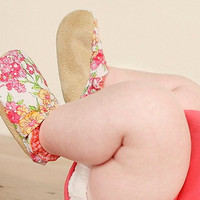 May Day Bison Booties Size 0 to 6 Months Newborn Baby Floral Pink Ready to Ship summer flower