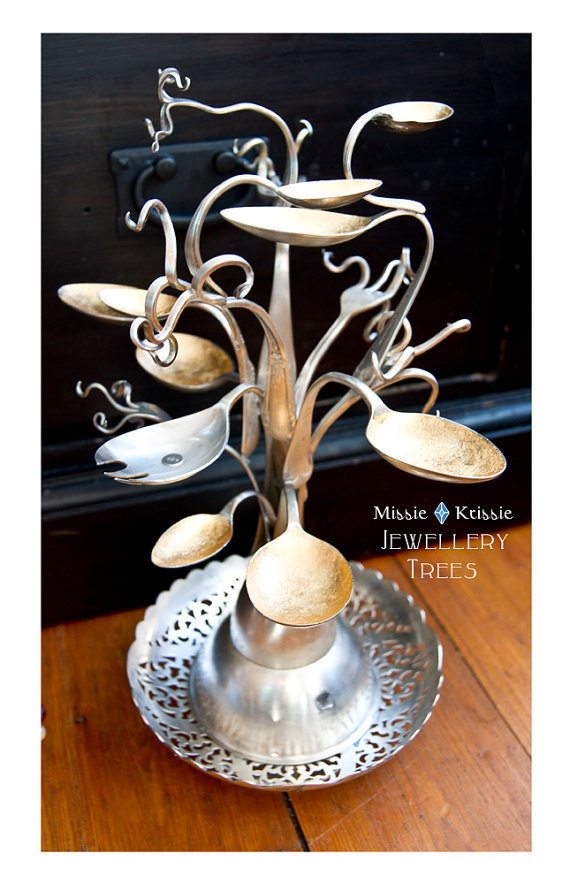 Jewellery Tree No9 Original Recycled Silverware by MissieKrissie