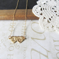 TRUE LOVE personalized hand stamped double heart initial necklace ( gold)