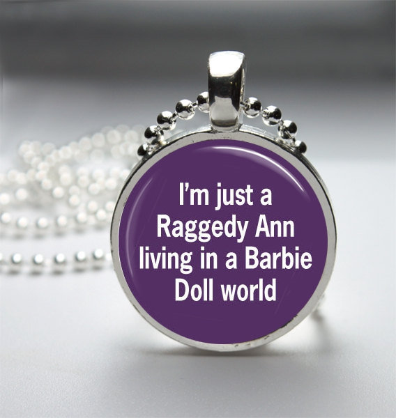 Round Glass Bezel Pendant Raggedy Ann In A Barbie World Pendant Funny Necklace With Silver Ball Chain (A3777)
