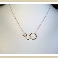 Eternity love Triple Circle Gold Necklace - Best Friends Gift, Modern, Simple, Everyday Jewelry, Artisan Three Linked Circles