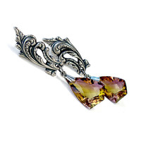 Ametrine Earrings: Sterling Silver and Ametrine - amethyst, citrine, purple and yellow, kite, kyte, shield, fancy cut, long dangle, pmc