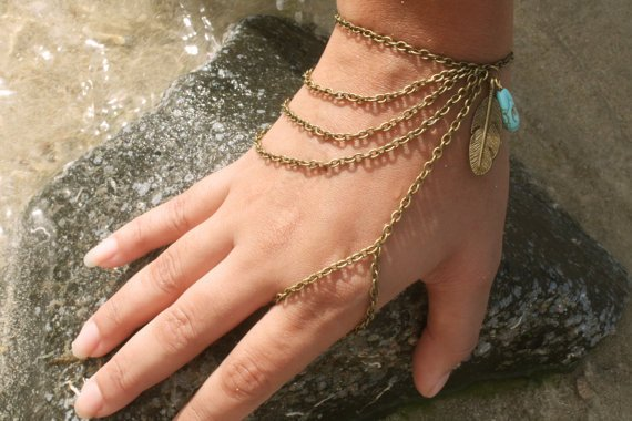 Slave Bracelet Hipster Bronze Chain Bohemian Feather Leaf Charm Turquoise Bead Index Finger Hand Jewelry Piece
