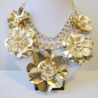 Free Shipping: Gold Flower Necklaces, Flower Statement Necklace, Garden Necklace, Rose Necklace