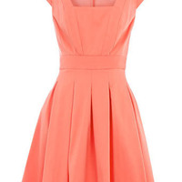 Coral structured piquet dress - Dresses - Clothing - Dorothy Perkins