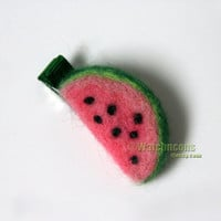 Watermelon Hair Clip Barrette Needle Felted Wool Fruit Slice Toddler