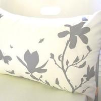 Limited Time Sale Grey Print on Off White Cotton Magnolia and Butterfies Rectangle Pillow