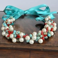 Turquoise Waves  Beach Weddings Pearl Turquoise and Coral Necklace