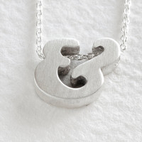 sterling silver block letter initial necklace - ampersand