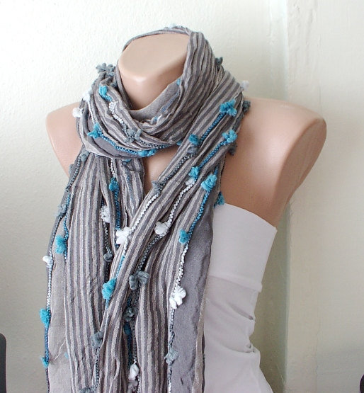 Grey  Scarf  from  coton with small blue, white bow