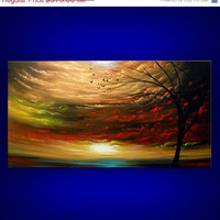 SALE art painting original painting landscape tree painting metallic gold cloud abstract sunset tree 48 x 24