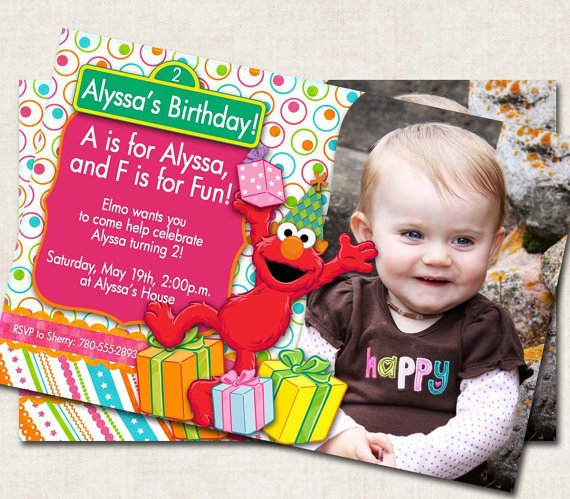 Elmo Birthday Party Invitation, printable, personalized, pink green orange (Digital File)