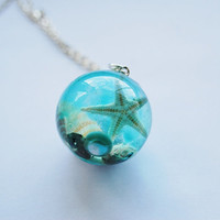 The Mermaid&#x27;s Necklace 08 Nautical Jewelry Resin Orb Starfish Tiny Seashells Pearl Aqua Specimen Necklace Fairy Tale Fantasy Unique Handmade