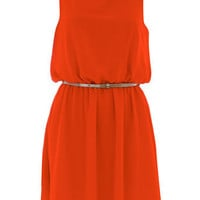 Orange chiffon belted dress - Party Dresses - Dresses - Dorothy Perkins