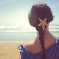 Starfish Hair Clip - Large - Natural - Beach Boho - Cute Adorable Romantic Whimsical - Dreamy Sea Star - Summer Fashion - Mermaid Collection