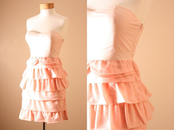 Prettiest Of All Dress / Dusty Pink, Strapless, Statement Dress, Corset, Bodice, style Ruffle Tiered, Peach