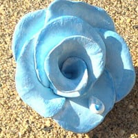 Blue Rose with Tear or Dew Drop Polymer Clay Hand Sculpted and Painted