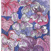 Violets Spring Flowers  ACEO Signed Limited Edition Print by Theodora