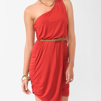 Ruched Wrap One-Shoulder <br>Dress
