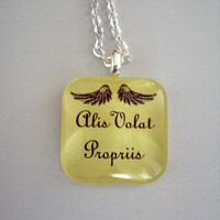 Lemon Drop Pendant Necklace She Flies With Her Own Wings -In Latin -Alis Volat Propriis -Lemon