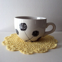 White Soup Mug with Dandelions Hand Painted in Black