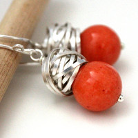 FREE shipping - The Goya in Tangerine - charming earrings with deep orange jade and silver wire