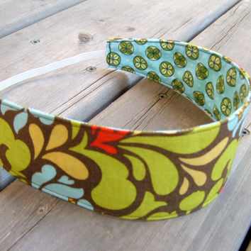 Women's Reversible Fabric Headband - Designer cotton tan green blue red yellow flowers geometrical teen adult - Bandeau - Ready to ship