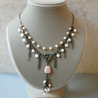 Peach Pearl, Sunstone, Crystal and Gunmetal Two Strand Chain Necklace