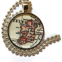 Ireland map pendant charm, Irish charm necklace, photo pendant