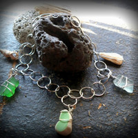 Charm Bracelet Sea Glass Shell Stone Beach Pottery - Lake Ontario