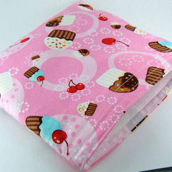 Eco-friendly Reusable Sandwich Bag - Cupcakes Pink Party Favor Gift Kid Girl Children Ecological - Sac sandwich - Ready to ship