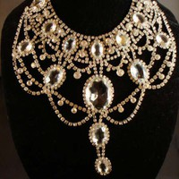 Huge Hand Set Rhinestone Bib Necklace INCREDIBLE