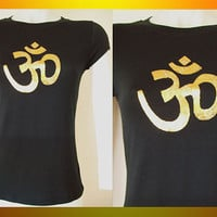 Womens / Juniors Black Fitted Top &quot;Namaste Symbol&quot; Gold Foil ...Size Small, Medium, Large, XL, 2XL, 3XL Zen Inspired