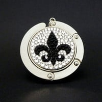 Fleur De Lis  foldable bag hanger made with Swarovski flatback crystals - Black x  Crystal